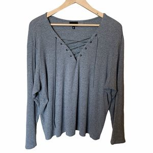 Who what wear grey longsleeve lace up top size 2X
